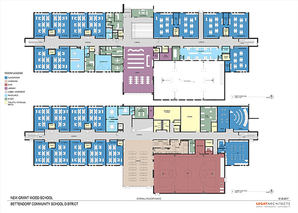 Floor plans for the 1st and 2nd floors of the school