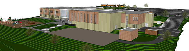 Drawing of the back side of the new Grant Wood Elementary
