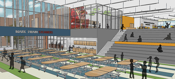 Drawing of new Mark Twain Elementary commons