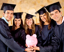 Graduates with a piggy bank