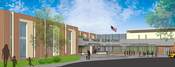 Drwaing of entrance of new Mark Twain Elementary