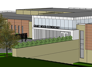 Graphic of entrance to new GW school