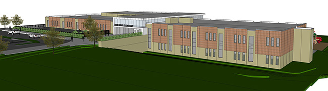 Drawing of the front side of the new Grant Wood Elementary - 1st floor and lower level